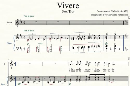 Vivere (Bixio / Brignone, 1936) piano and vocal