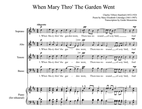 Charles Villiers Stanford - When Mary thro' the garden went SATB