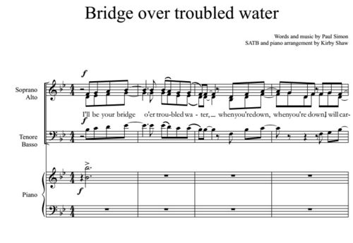 Like a bridge over troubled water (Simon arr. Shaw)