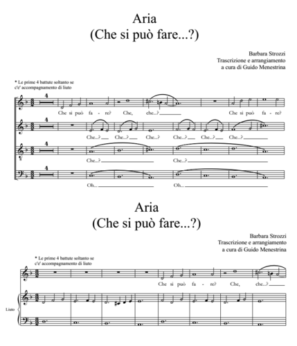 Che si può fare (Barbara Strozzi) MS and lute or SATB