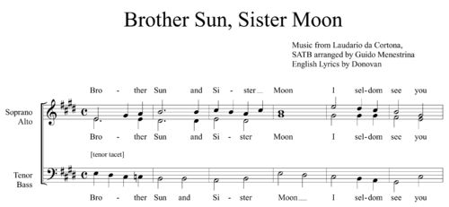 Brother Sun Sister Moon SATB Arrangement by Guido Menestrina