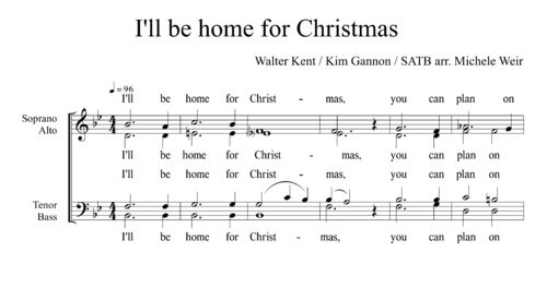 I'll be home for Christmas SATB